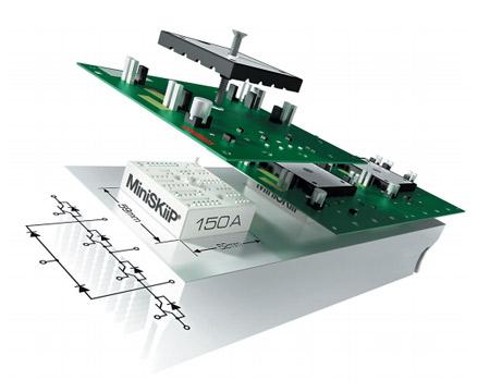 Рис. 4. Применение MiniSKiiP серии MLI позволяет создавать компактные высокочастотные инверторы, отличающиеся низким уровнем потерь, высокой плотностью тока и простотой соединительных шин - Направление развития модулей MiniSKiip от компании SEMIKRON