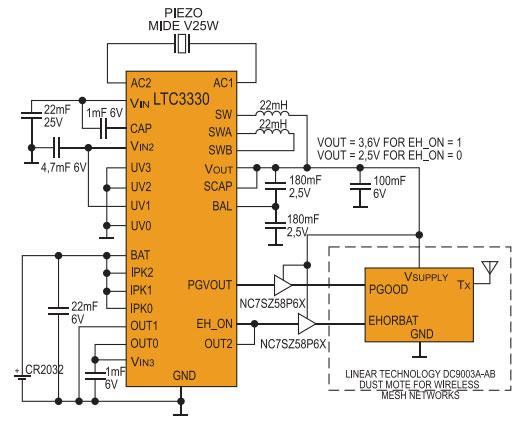Принципиальная электрическая схема питания узла DC9003A от источника вибраций