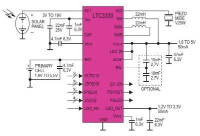 электрическая схема устройства сбора солнечной и механической энергии